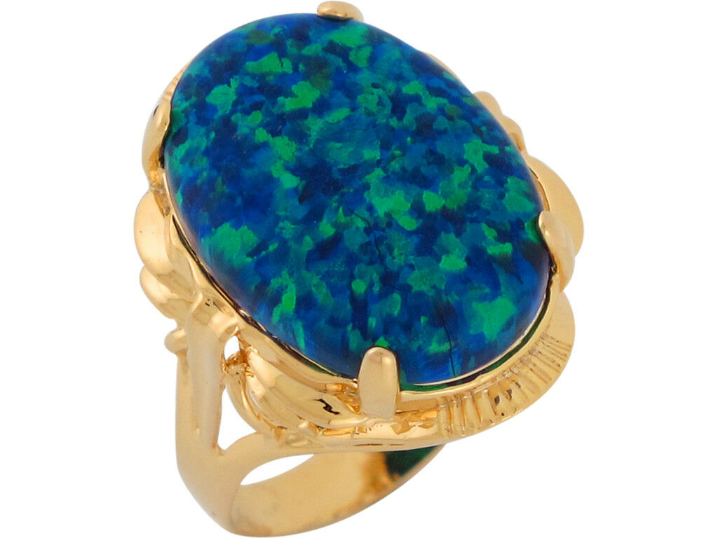 10k or 14k Yellow gold Simulated bluee Green Opal Opulent Ladies Ring