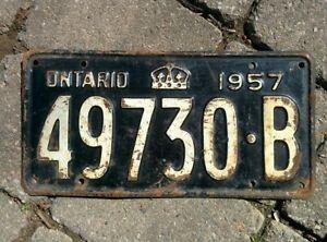 Vintage 1957 Ontario ON Canada Vehicle License Plate Black White ~ POOR 49730 B