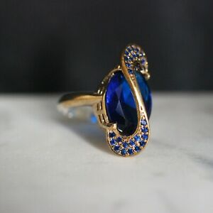 925-Sterling-Silver-Handmade-Authentic-Turkish-Sapphire-Ladies-Ring-Size-9