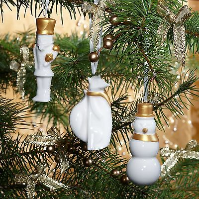 STARBUCKS White Gold Ceramic Christmas Ornament Gift Set NWT 2012