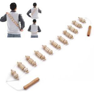 Details About Wooden Back Massager Handheld Wheel Full Body Roller Wheels Neck Health Massage