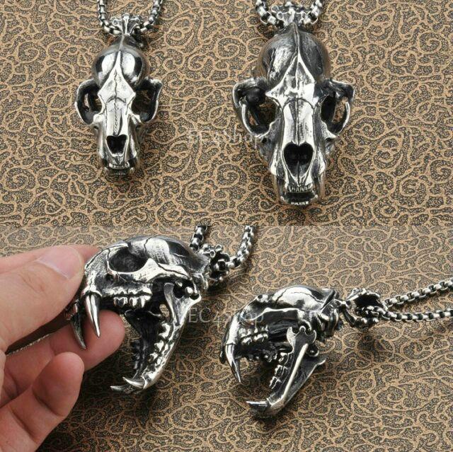 Huge Heavy Men's 3D Dinosaur Skull Pendant Chain Necklace 316L Stainless Steel