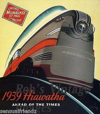 Milwaukee Road Hiawatha Poster 1939 Chicago  CMSP Train Railroad Ad Antique  sm