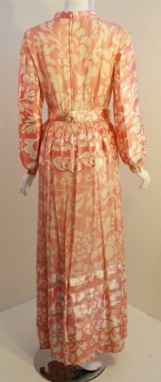 CEIL CHAPMAN 1960s Pink and White Silk Chiffon Go… - image 4