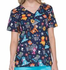 Disney Winnie the POOH Women's Small S SCRUBS Top NeW Nurse Scrub Tigger Eeyore