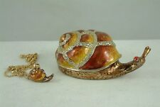 Enameled Pewter Bejeweled Trinket Box with Tiny Necklace - Snail