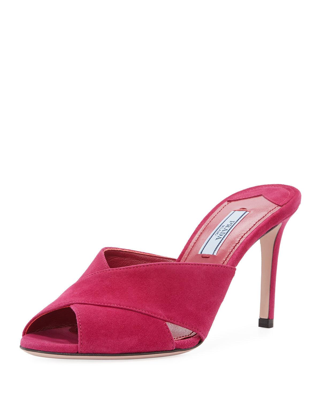 Prada Suede Crisscross Slide Sandal, Pink MSRP  620.00 Mult Sz
