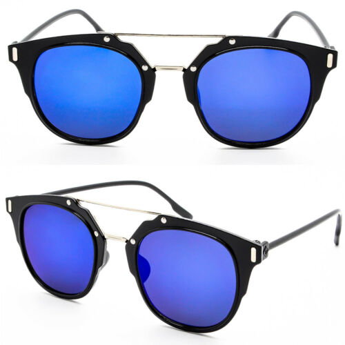 Trendy High Fashion Horned Rim Mirror Lens Crossbar Sunglasses Unisex