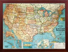 United States Map Perfect for Tracking Pins Brown Wood Frame for Home Office