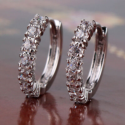 Romantic woman gift! 18k white gold filled Sapphire Crystal hoop earring