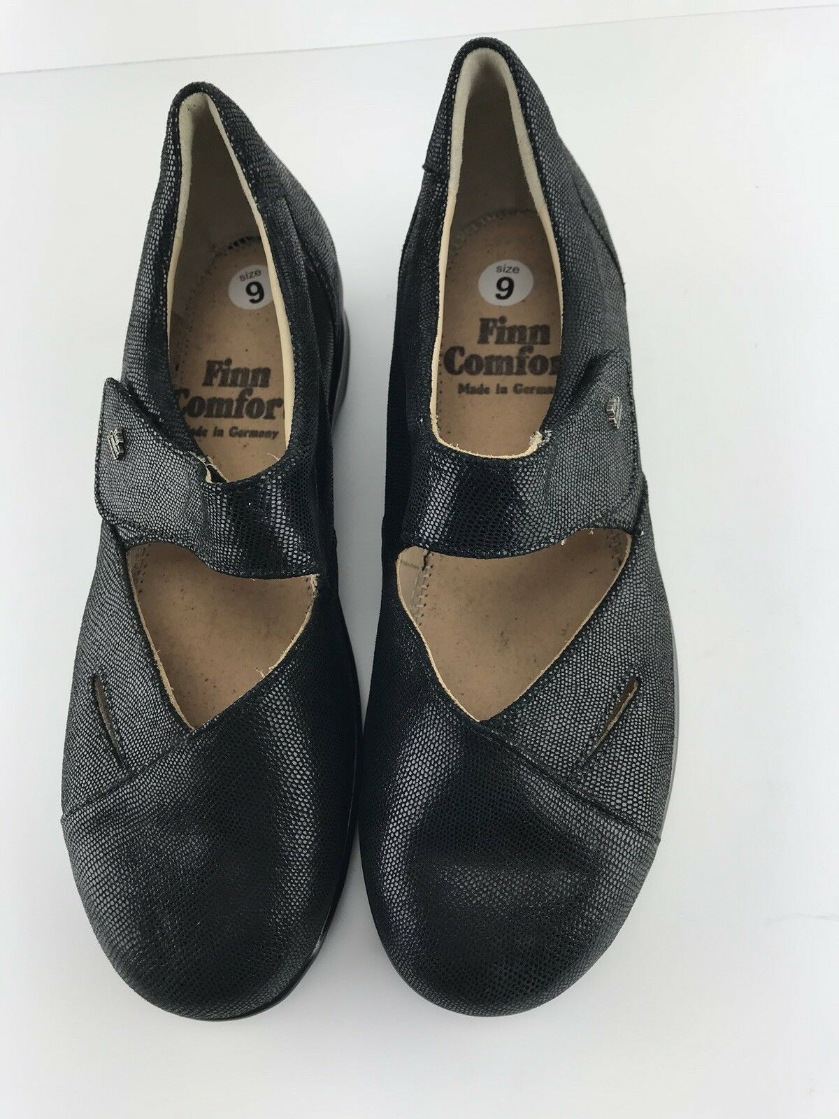 Womens Finn Comfort Black Leather Mary Janes Size 9