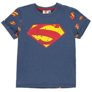 BOYS DC COMICS BLUE SUPERMAN AOP SHORT SLEEVE CREW NECK TEE SHIRT T-SHIRT TOP