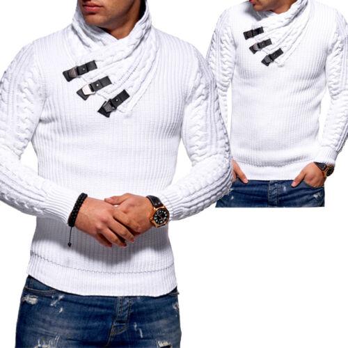 Tazzio Pullover Pullover A Maglia Collo Alto Maglia Grob Cardigan Grigio//Nero