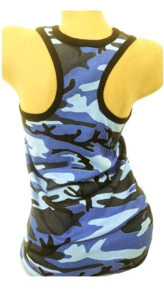 Camouflage Sporttop Damen Baumwolle Trägertop Sommershirt Tarnfarben Tops  36-44