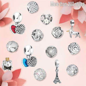 Silver-Charms-Fit-European-Beads-925-Fashion-Cute-Jewelry-Lots-Chain-Bracelet