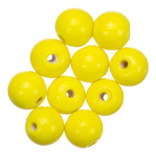 A32//4 Brillante Amarillo Brillante Redondo Perlas De Vidrio 10mm Paquete de 10