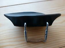 EBONY VIOLIN CHIN REST, RARE MORAJET MODEL, WITH CORKED CLAMP, 4/4, FROM UK!