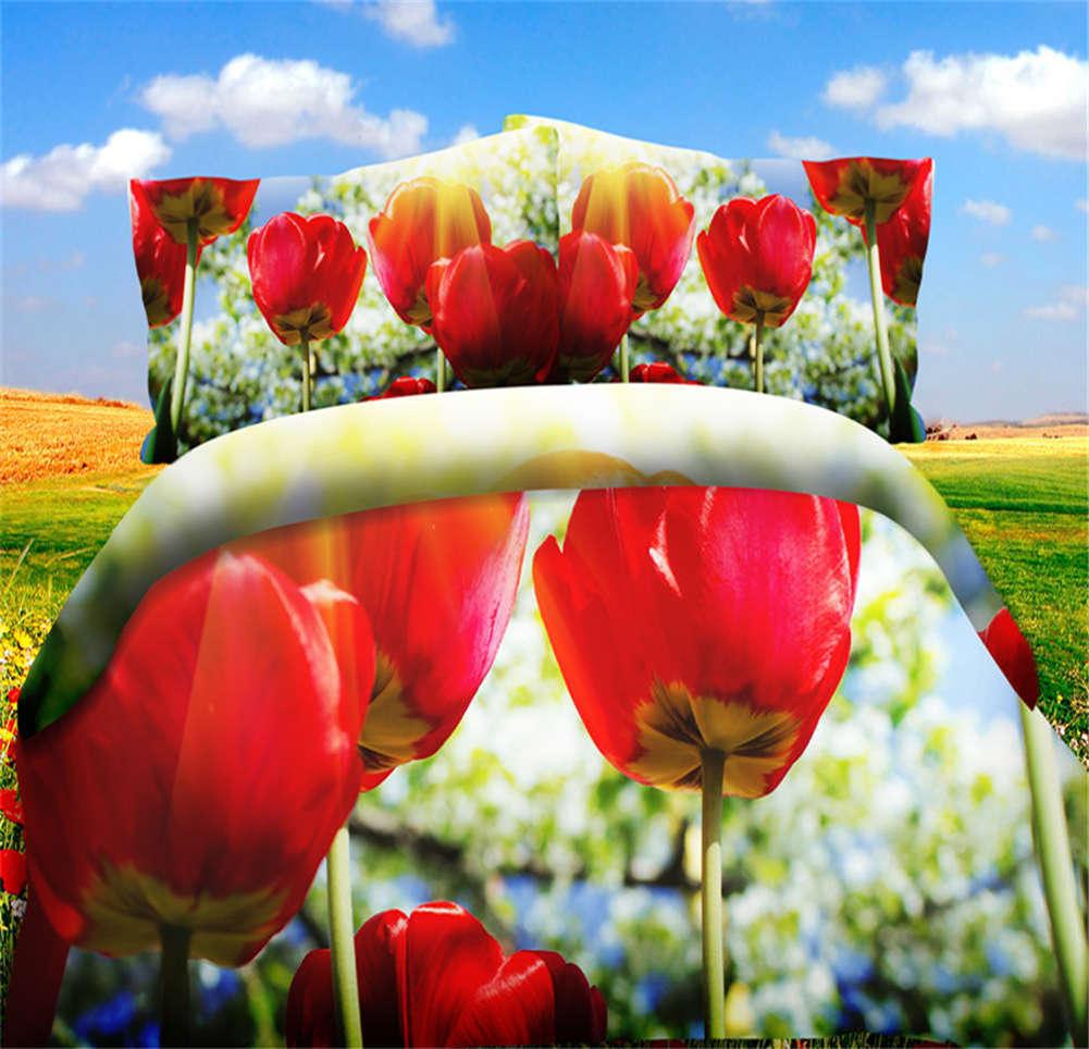 Prosperous Tulip 3D impression Duvet Quilt Doona Covers PilFaible Case Bedding Sets