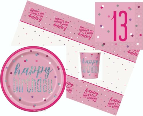 Pink Glitz Age 13 Napkins Balloons Table Cloth Banners Party Packs Decorations