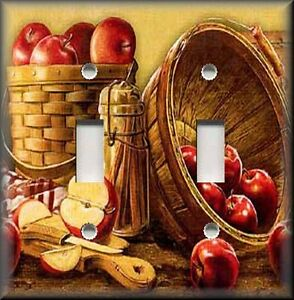 Metal Light Switch Plate Cover Apple Basket Country Kitchen Apple
