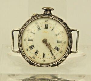 Rare-SILBER-Armbanduhr-Taschenuhr-Uhr-Damen-pocket-watch-Uhren-spindel-clock-RAR