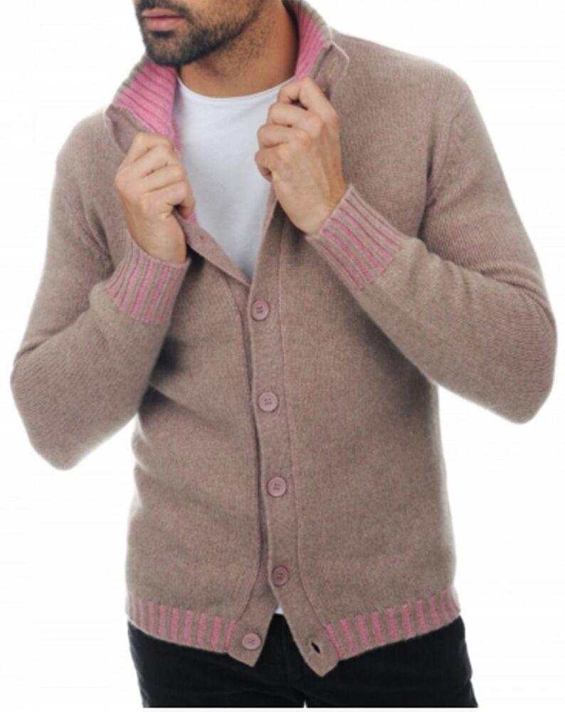 Balldiri 100% Cashmere Homme Tricot Veste Avec Boutons 8-fädig Nature Marron-rose 3xl-a 3xl Fr-frafficher Le Titre D'origine