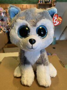 "4444ed3d5 Details about Ty SLUSH -Grey/Blue/White Husky Dog 10"" Beanie Boo Buddy!"
