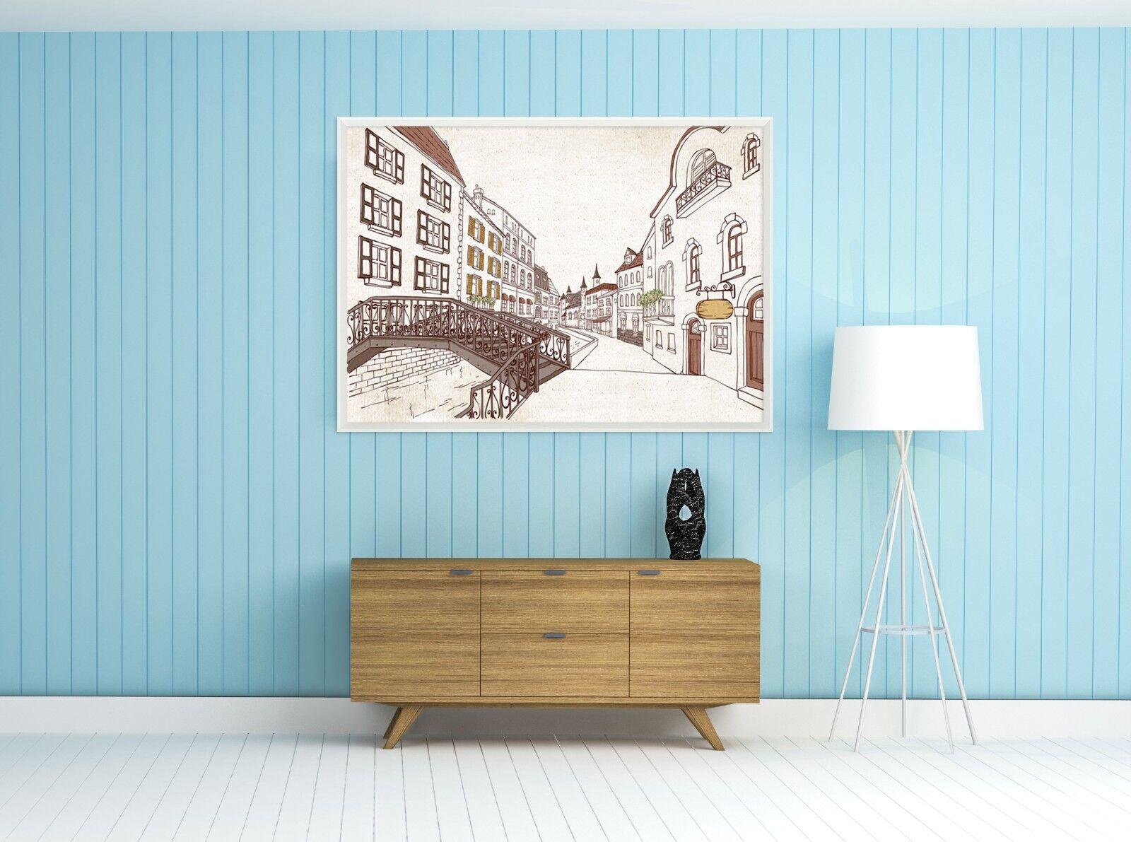 3d esquisse ville 48 encadré affiche à la maison décor imprimer peinture art AJ de