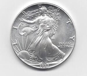 1987 1 Oz American Silver Eagle Coin One Troy Oz 999