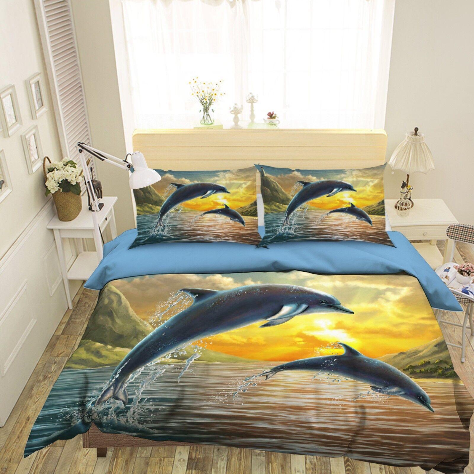 3D Sonnenuntergang Delphin 45 Bett Kissenbezüge steppen Duvet Decken Set Single