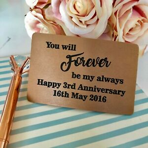 Personalised Leather Wallet Card Insert 3rd Wedding Anniversary Gift Him Her Ebay