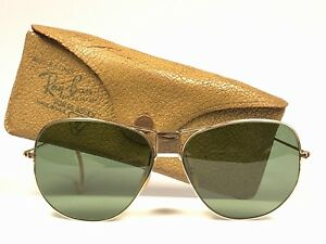 7d07ec62ce2 VINTAGE RAY BAN 1940 S RARE HINGED BAUSH   LOMB 12K GOLD FILLED ...