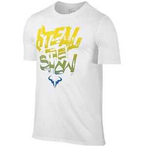 New Nike Rafa Steal the Show SS Crew Tee Shirt 828052-101 White Nadal Tennis