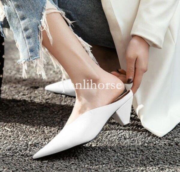 Donna Real Pelle Slingbacks mules slippers Scarpe cat low heel runway Scarpe