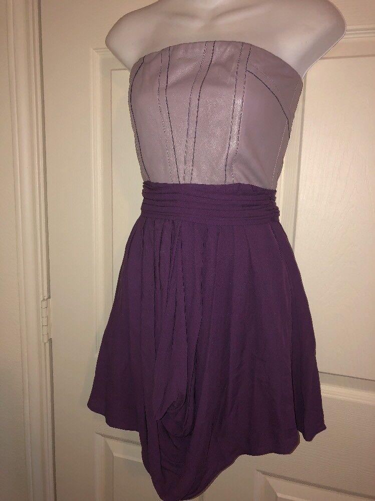 Alice + Olivia Lavender Silk Leather Mini Dress Silk Overlay Lined SZ 00
