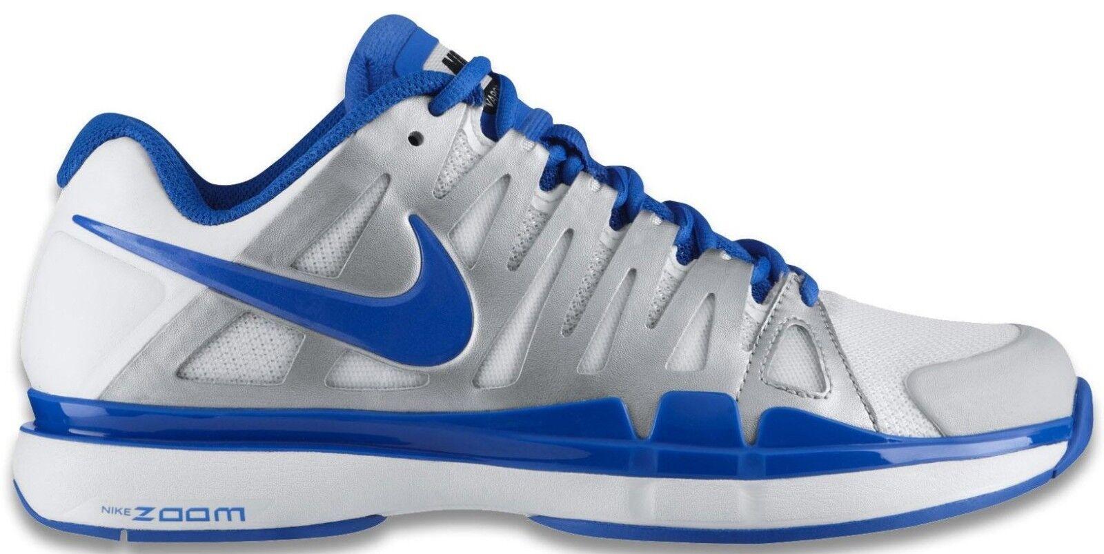 NIB Nike Federer ZOOM VAPOR 9 TOUR White/Blue Tennis Shoes 488000-140 Sz: 8.0