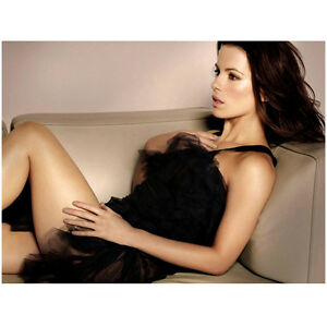 Kate Beckinsale In Black Tulle Dress Laying On Leather