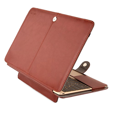 new arrival 921d6 7957a The MacBook 12 Case Mosiso Brown Premium Quality PU Leather Book Cover Clip