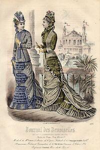 """7/ Gravure De Mode """" Journal Des Demoiselles """" 1878 Superbes Couleurs ! Les Catalogues Seront EnvoyéS Sur Demande"""
