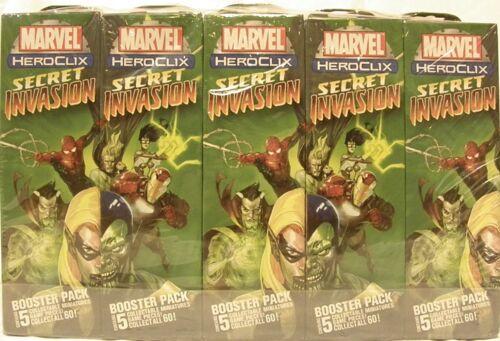 HeroClix sealed Brick ~ SECRET INVASION ~ Marvel 5 figure Booster pack x 10