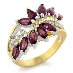 Bague Luxe Plaqué Or 18k Femme Mode Chic Serti Zirconium Améthyste Diamant Belle En Couleur