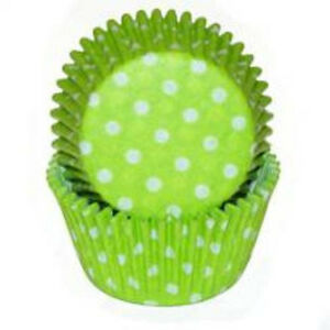 Mini Lime Green Polka Dot Baking Cups Liners - 100 Count