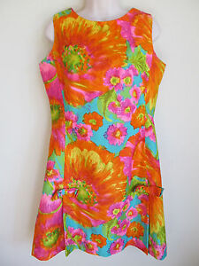 Vintage-Hawaiian-Casuals-by-Stan-Hicks-Floral-Shift-Dress-Hawaii-Honolulu-Sz-S-M