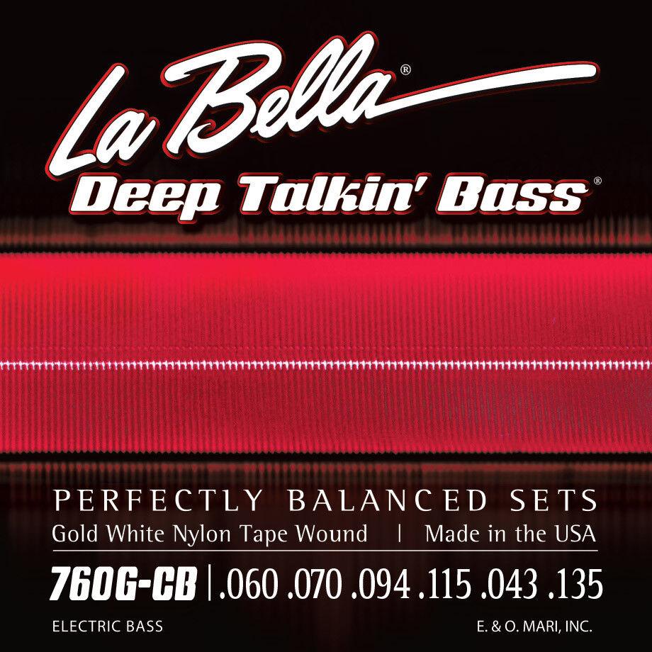 La Bella 760G-CB Gold Weiß Nylon Tape Wound Bass Guitar Strings - Standard - 6-