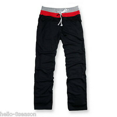Sports Mens Boys Solid Tracksuit Bottoms Loose Pants Straight Jogging Trousers