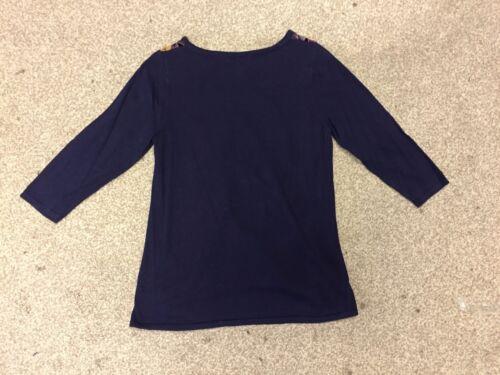 X1.16 Ex M*S Twiggy Navy Velvet Look Cotton Top Size 8-22