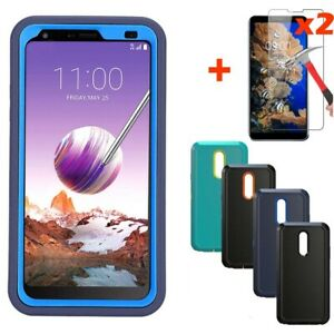 For-LG-Stylo-5-4-Plus-Shockproof-Hybrid-Armor-Phone-Case-Cover-Tempered-Glass