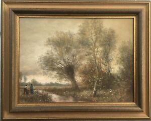 Impressionist-Rolf-Hank-1939-2008-idyllic-Landscape-With-People-41-x-51-cm