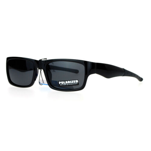 SA106 Biker Mens Antiglare Polarized Rectangular Sport Plastic Sunglasses