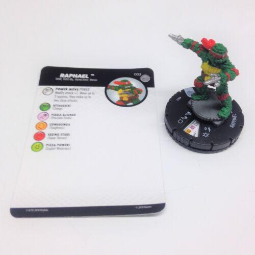Heroclix TMNT Series 4 Unplugged set Raphael #003 Common figure w/card!